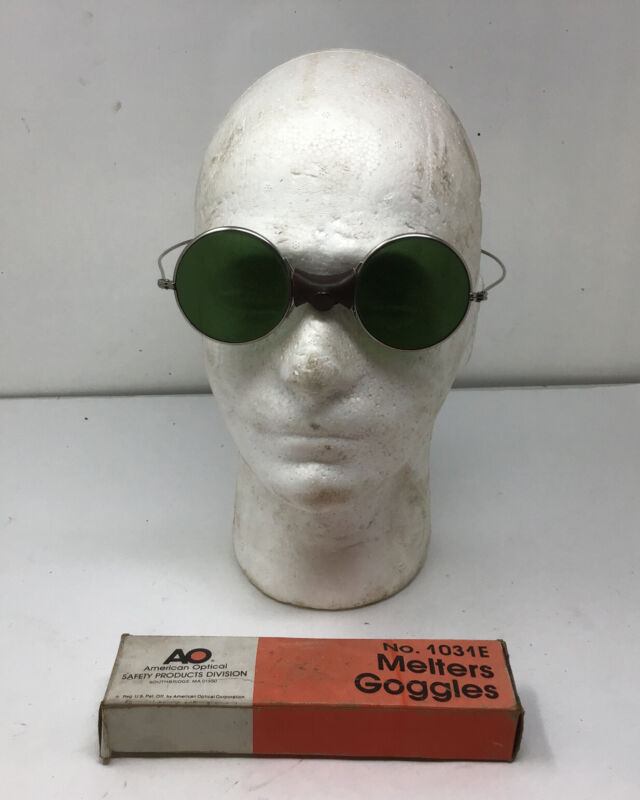 Vintage AO Melters Goggles Green Round Lens 1031E IN BOX Safety Industry