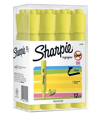 Sharpie Tank Highlighters Chisel Tip Fluorescent Yellow 12 Count