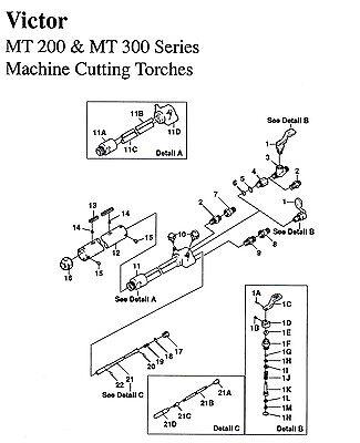 Victor Mt 200 300 Machine Cutting Torch Complete Rebuild Repair Kit