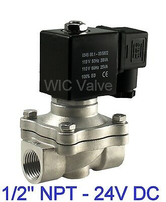 12 Inch Stainless Electric Air Water Gas Solenoid Valve Nc 24v Dc Viton Seal