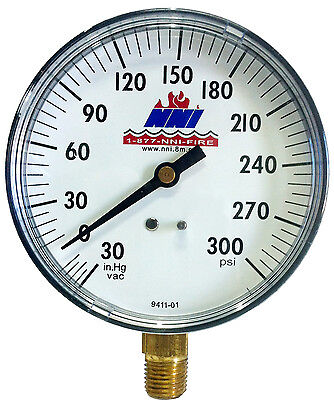 3-12 Dial Vacuum Pressure Gauge 30-0 Hg Vacuum 0-300 Psi