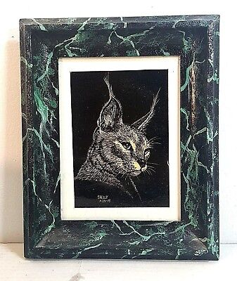 FRAMED & MATTED ORIGINAL SCRATCH BOARD ART OF A LYNX CAT. SIGNED