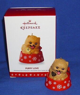 Hallmark Ornament Puppy Love #26 2016 Pomeranian Dog in Doggie Bowl NIB
