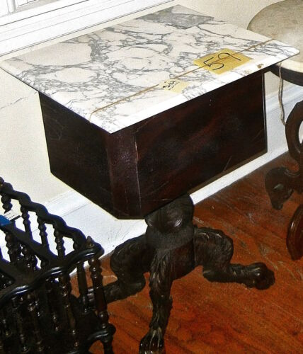 Empire Mahogany Table Marble Top  2 drawer Paw Feet 19th Century