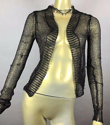 ISABEL BENENATO S/S 2014 Gunmetal Mesh Cardigan Women's Sweater size 40