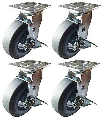 6 X 2heavy Duty Non-marking Rubber Wheel Caster 4 Swivels With Brake F