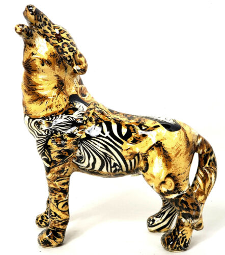 Wolf Ceramic Figurine Animal Jungle Safari Patchwork Leopard Print Zebra 8 1/2""