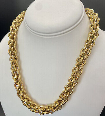 """Vintage Designer GIVENCHY Gold Tone Round Link Thick Rope Chain Necklace 18"""""""