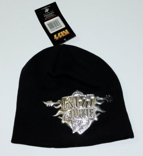 KISS Band Alive 35 Tour Silver Embossed Beanie Hat Cap New Tags 2008 UNWORN