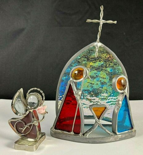 "stained glass nativity scene Mary Joseph Jesus and angel 5.5x5"" religious decor"