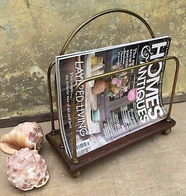 ANTIQUE EDWARDIAN BRASS & MAHOGANY NEWSPAPER~MAGAZINE RACK~STAND ON BEEHIVE FEET