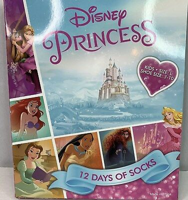 Disney Princess Girls 12 Days of Socks Large Shoe 3 10 Advent Calendar NEW