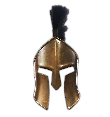 Antique Medieval 300 Spartan Leonidas 300 w/Black Plume Movie Replica Helmet Arm