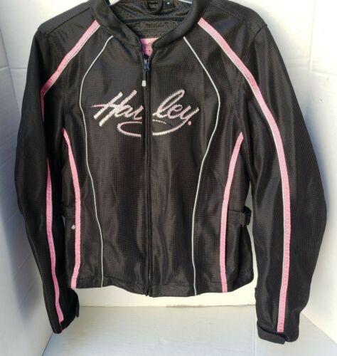 Harley Davidson Biker Motorcycle Jacket Womens Black Mesh Pink Rhinestone Bling