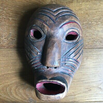 Mask Antique Wood Painted Indonesia Java - Arts First Arts Wovens