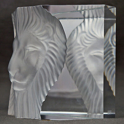 Gorgeous Vintage Hoya Frosted Crystal Art Glass Lion Head Statue, Prism Bookend