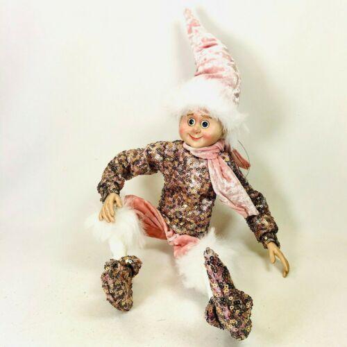 "Sullivans Sparkle Elf Figurine 19""H Pink Ornament Christmas Seasonal Elves"