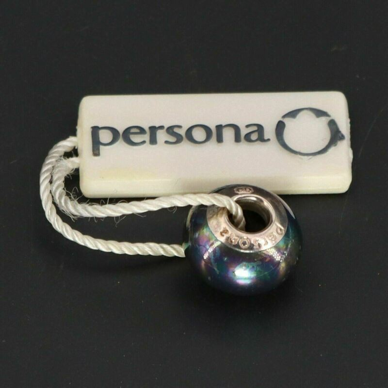 NEW Sterling Silver - PERSONA Peacock Shell Pearl Glass Bracelet Charm Bead - 3g
