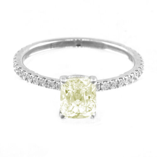 Fancy Yellow Cushion Cut Diamond Engagement Ring GIA Certified 1.70 CT 18k Gold