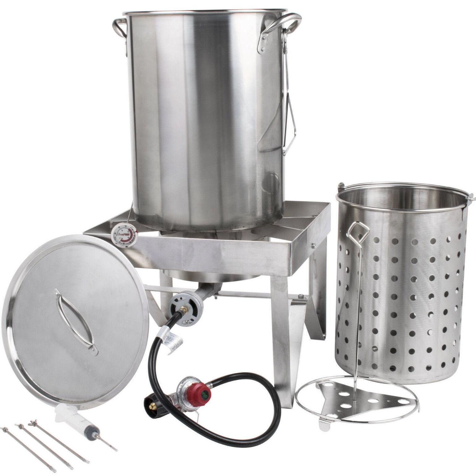 30 Qt STAINLESS STEEL Turkey Deep Fryer Kit Steamer Stock Po