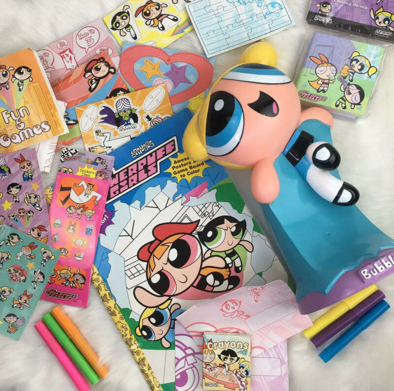 Vintage 1990s Power Puff Girls Lot Bubbles Statue Poster Coloring Book Stickers