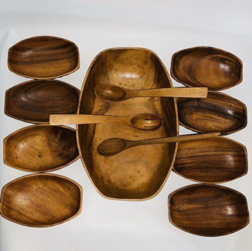Vintage 12 Piece Hand Carved Wooden Salad Bowl Utensil Set