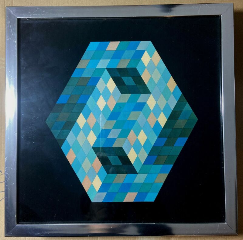 Victor Vasarely, HOMAGE OF THE HEXATON serie– FRAMED Multicolor Geometric shape.