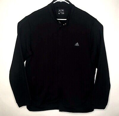 Adidas Mens Black Full Zip Sweater XL Polyester Long Sleeve Black