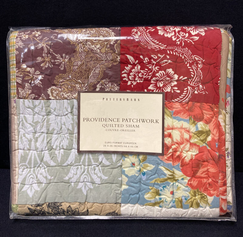 "Pottery Barn Providence Floral Patchwork Euro Sham 26"" Farmhouse Decor NEW"