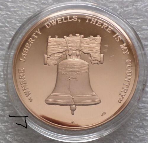 Ben Benjamin Franklin Philadelphia Liberty Bell Mirror Proof Bronze Coin Medal