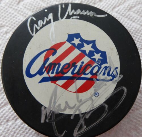 Hockey Puck Lot - Rochester Americans Puck signed by Charron & Biron + Vintage