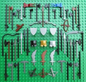 Lego Castle Weapons Knights Bow Spears Axes Shields Swords Flags Crossbows Lance