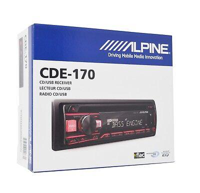 Alpine Cde 170  Single Din Cd Car Stereo W  Usb   Auxiliary Input