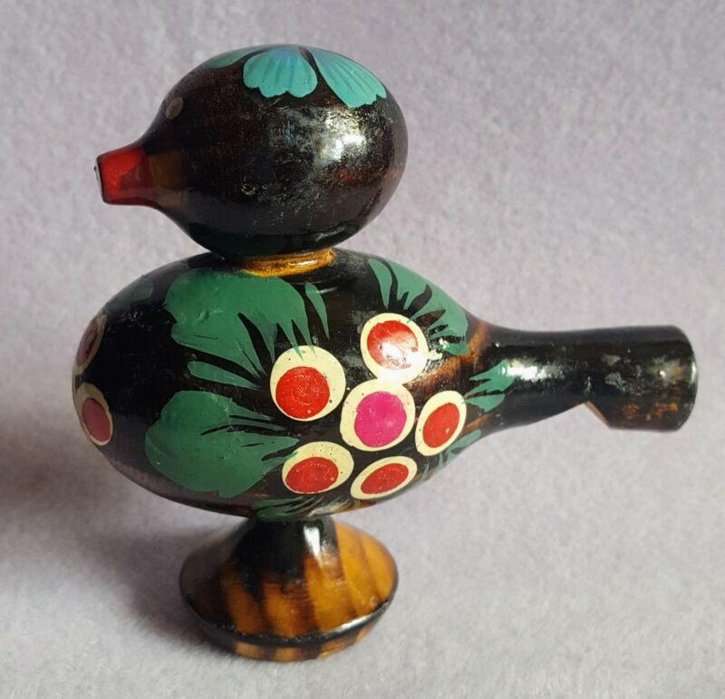 Vintage Russian Folk Art Wooden Bird Whistle - Hand Painted - Black with Designs