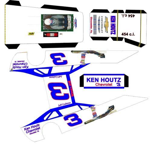 "#3 Ken Houtz Chevrolet Asphalt Modified Laminated Body Slot Car 4"" 1/24th"