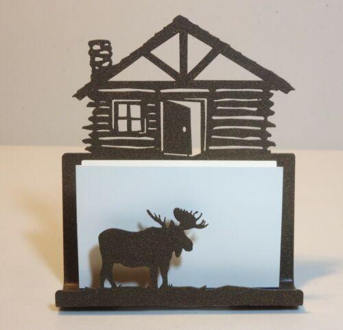 BUSINESS CARD HOLDER - Log Cabin and Moose - metal