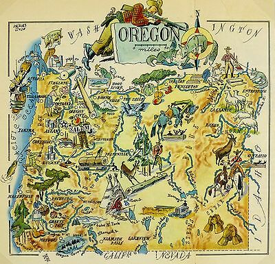 Oregon Antique Vintage Pictorial Map
