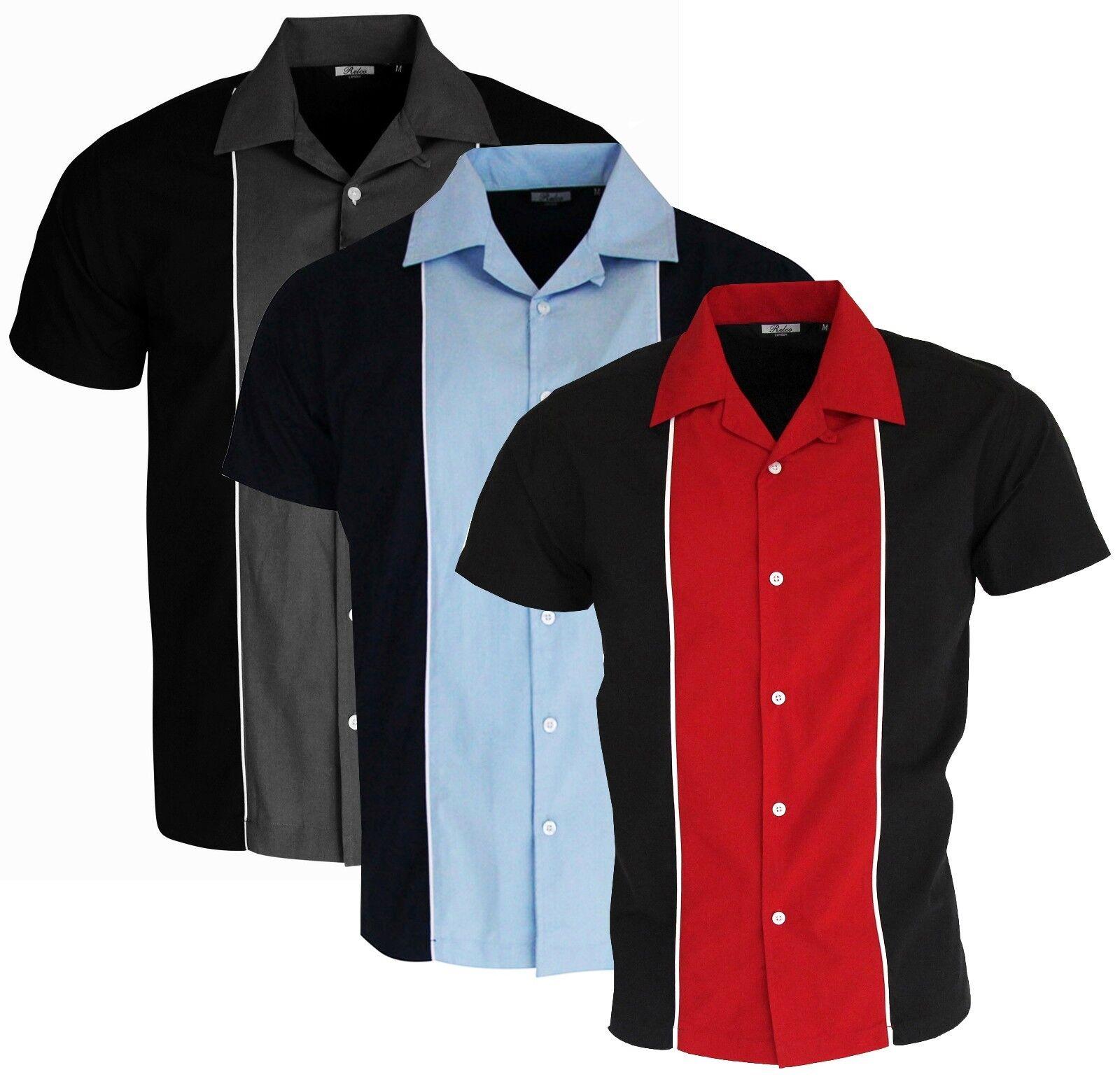 Mens Bowling Shirt Grey Red Blue Options Open Neck Ten Pin 50's Rockabilly Relco