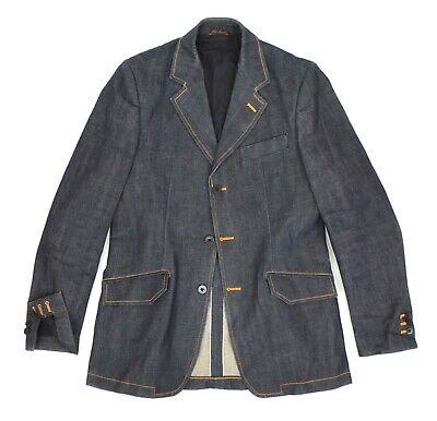 Mens Nudie Selvage Denim Blazer Jacket Blue Organic Selvedge Button Size M