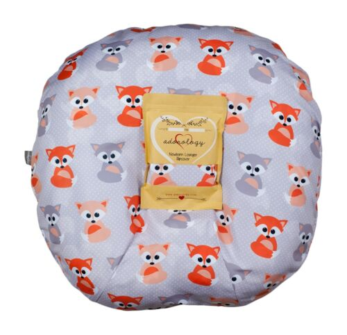 Newborn Infant Lounger Cover Slipcover Baby Gray Foxes Design Water Resistant