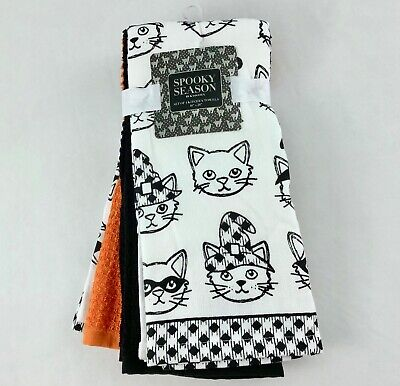 Spooky Season Halloween Kitchen Towels Cat Faces White Blk Orange Set of 4 New