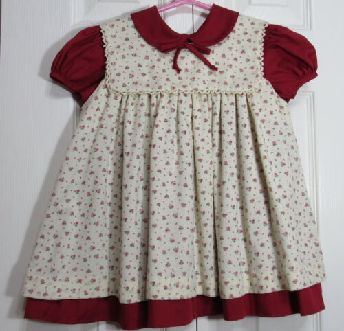 Vintage CI Castro & Co 4T Toddler Pinafore Dress Burgundy Cream Floral 2 Piece