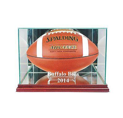 (Buffalo Bills  2014 Glass Football Display Case FREE SHIPPING UV Made in USA)