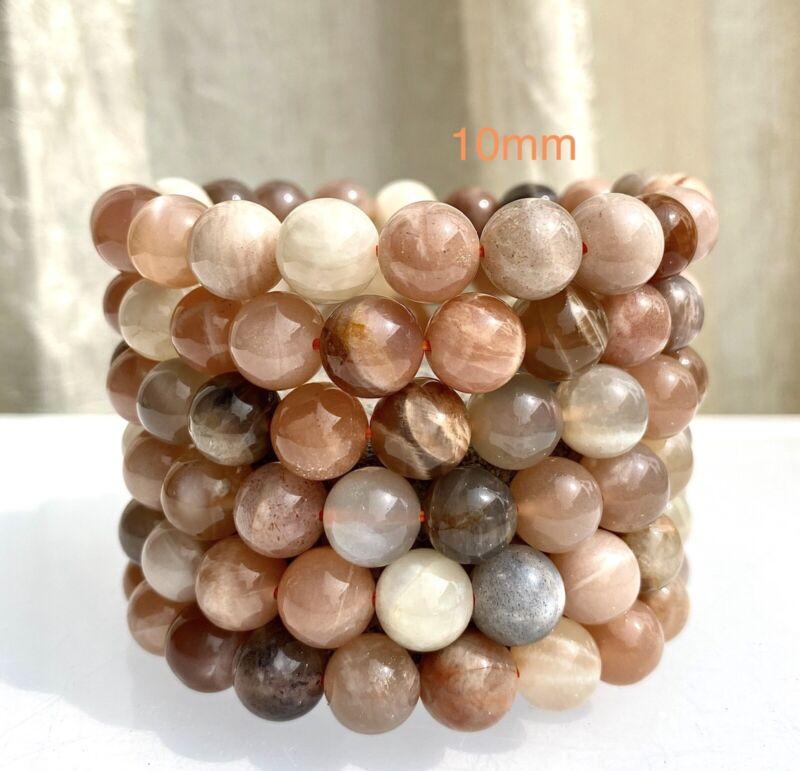 """Wholesale Lot 6 Pcs Natural Mix Color Moonstone 10mm 7.5"""" Stretch Bracelet"""