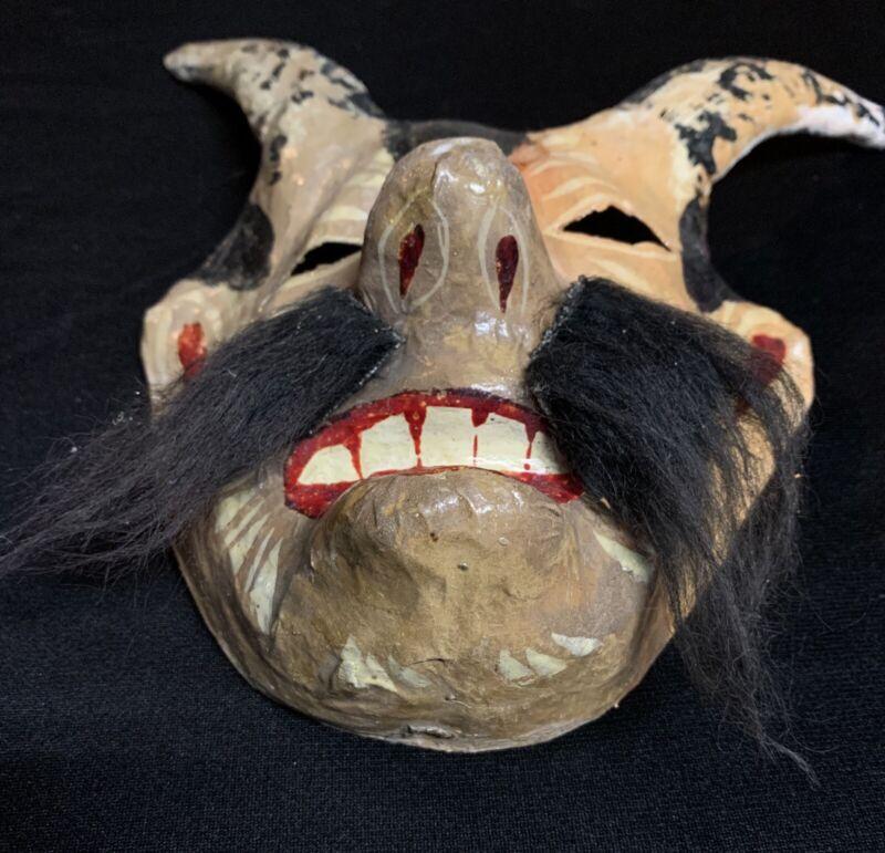 Vintage Original Paper Mache Mask Oaxaca Horned Man Bizzare Oddity