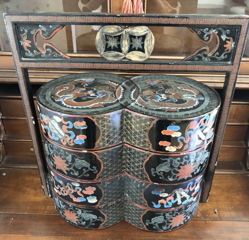 Antique 3 level Multi-Color Chinese Wedding Basket Box Lacquer Lucky Dragon