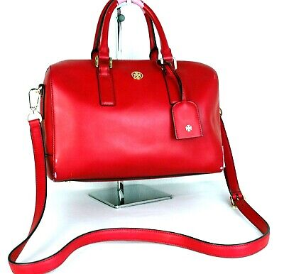 Auth Tory Burch Red PVC  Leather Two Way shoulder Bag Hand Bag Boston Bag (Tory Burch Boston)