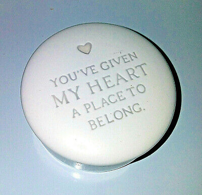 Hallmark You've Given My Heart A Place to Belong Trinket Jewelry Box Porcelain