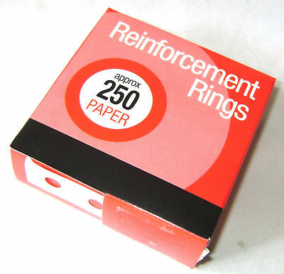 Neu Box 250 Verstärkung Ringe für Papier Usw. Red Box (Papier Verstärkungen)