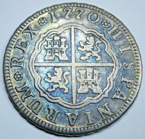 1770 Spanish Silver 2 Reales Antique 1700s Colonial Two Bit Pirate Treasure Coin